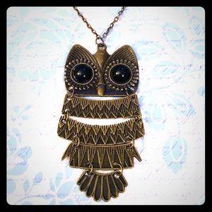 Antique Bronze Owl Necklace New